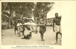 CONGO FRANCAIS LE CHEF DE POSTE DE PANGALA M. RICHARD CHAISE A PORTEUR EN TOURNEE ADMINISTRATIVE BEAU SUPPORT - Congo Français - Autres