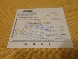 BIGLIETTO SIREMAR TRATTA LAMPEDUSA - LINOSA -1980 - Schiffstickets