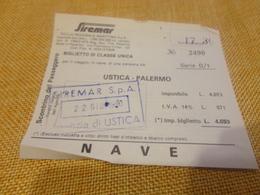 BIGLIETTO SIREMAR TRATTA PALERMO - USTICA -1980 - Schiffstickets