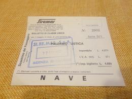 BIGLIETTO SIREMAR TRATTA PALERMO -USTICA -1980 - Schiffstickets