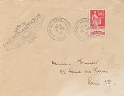 J71 - Marcophilie - Salon De L'Aéronautique - Paris -1936 - Timbre Pub Moët Et Chandon - Air Post