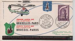 REF566/ TP 994 Europa S/L.1ère Liaison BXL-Paris Par Hélicoptère C.BXL-Paris 3/3/1957 > Paris C.d'arrivée Gare Du Nord - Marcophilie