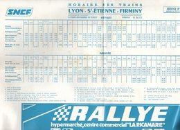 Horaires SNCF  LYON SAINT ST ETIENNE FIRMINY  1976 / Chemin De Fer Train - Europe