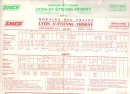 Horaires X2  : SNCF  LYON SAINT ST ETIENNE FIRMINY  1975-76 / Chemin De Fer Train - Europe