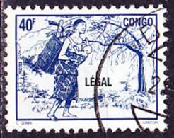 Timbre Oblitéré N° 1076AL(Yvert) Congo 1998 - Femme à La Hotte, Surcharge LÉGAL - Congo - Brazzaville