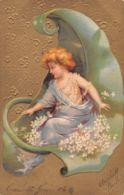 Enfant (Fantaisie) - Fleurs Blanches - Dorures - Gauffrée - Robe Bleue - Enfants