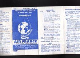 Horaires Et Tarifs : AIR FRANCE 1958 IATA Aviation Services Aériens Au Départ De L'aéroport Lyon Bron - Europe