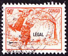 Timbre Oblitéré N° 1076AN(Yvert) Congo 1998 - Femme à La Hotte, Surcharge LÉGAL - Congo - Brazzaville