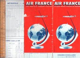 Horaires AIR FRANCE Algérie 1957  AIRWAYS Compagnie Aérienne Airline Airlines - Europe