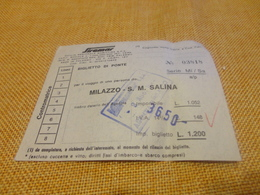 BIGLIETTO SIREMAR TRATTA MILAZZO-S.M. SALINA-1980 - Schiffstickets