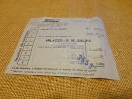 BIGLIETTO SIREMAR TRATTA MILAZZO-S.M. SALINA-1979 - Schiffstickets