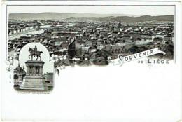 Souvenir De Liège. Cachet Mehner & Maas Litho, Leipzig-Reudnitz Au Dos. Vue Générale Et Monument Charlemagne. - Liege