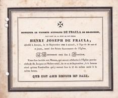 ANVERS ANTWERPEN Henry De FRAULA De BROECHEM Vicomte 38 Ans 1838 Avis Mortuaire A5 Cartonné Et Perforé - Décès