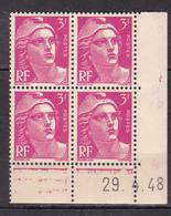 N° 806 Type Marianne De Gandon: Beau Bloc De 4 Timbres Neuf Impeccable Coins Datés 29.4.48 - Dated Corners