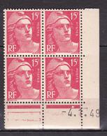 N° 813 Type Marianne De Gandon: Beau Bloc De 4 Timbres Neuf Impeccable Coins Datés 4.1.48 - Dated Corners