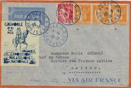 J71 - Marcophilie - Lettre France Grenoble Vers Indochine Saïgon - Par Avion - 1934 - Indochina (1889-1945)