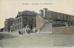 Tamines La Gare Et La Passerelle Circulée En 1905 - Sambreville