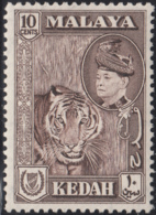 Malaya Kedah 1957 MH Sc 88 10c Tiger, Sultan Tungku Badlishah - Kedah