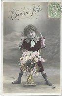 L100F293 -  Bonne Fête - Garçonnet Avec Une Belle Corbeille De Fleurs - Croissant  N°3329 Sazerac Photo - Autres