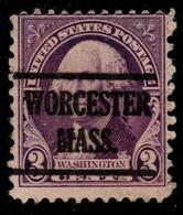 "USA Precancel Vorausentwertung Preo, ""WORCESTER"" (MASS). 3 Cents. - Preobliterati"