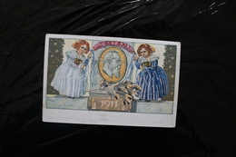 Germany Bavaria Colourful Postcard Dolls 1911 Postmarked 1911 Face Scraped A04s - Bavaria