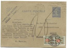 104 - 52 - Entier Postal Français Envoyé De Toulon En Suisse - 2 Timbres Suisses Taxe  1933 - Segnatasse