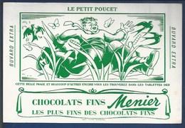 BUVARD ILLUSTRÉ - CHOCOLAT MENIER -  LES CONTES - LE PETIT POUCET ( VERT) - Chocolat