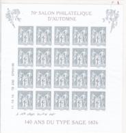 France - 2016 - 5094 - 70 éme Salon Philatélique D'Automne,140 éme Anniversairedu Type Sage Avec Notice Et Pochette - Blocs & Feuillets