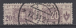 ITALIA - 1914 - Nodo Di Savoia - Pacchi Sassone N.19 - Cat. 650 Euro  Usato - Used - Luxus Gestempelt - Postal Parcels