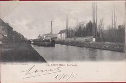 Kortrijk Le Canal Courtrai Het Kanaal Binnenschip Barge Peniche 1902 (In Zeer Goede Staat) - Kortrijk