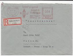 Einschreiben Halle (Saale) - Freistempel - Stempeleinsatz: Hitlerjugend Gebiet 15 - Mittelland - Allemagne