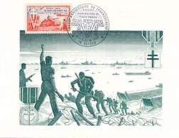 FRANCE - CARTE OBLITERATION 40E ANNIVERSAIRE DU DEBARQUEMENT BAYEUX 1ERE VILLE DE FRANCE LIBEREE 5/6.06.84 BAYEUX - Guerre Mondiale (Seconde)