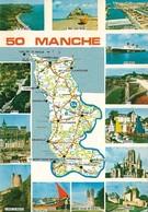 50 Carte Du Département De La Manche (2 Scans) - Frankrijk