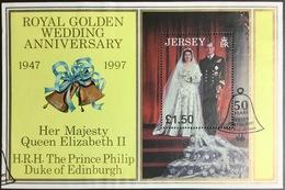 Jersey 1997 Golden Wedding Minisheet First Day Issue Cancel - Jersey
