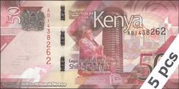 TWN - KENYA NEW - 50 Shillings 2019 DEALERS LOT X 5 - Prefix AB UNC - Kenya