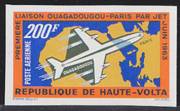 UPPER VOLTA (1963) Plane Over Map Of Africa & Europe. Imperforate. First Flight Ougadougou-Paris. Scott No C8 - Upper Volta (1958-1984)
