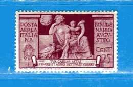 (Riz) Regno D'Italia*- 1937-Bimillenario Di Augusto.Posta Aerea. 25 C.Unif. A106 Ingiallito Calcolato Come Linguellato, - Mint/hinged
