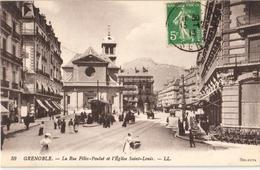 38 - GRENOBLE - LA RUE FÉLIX-POULAT ET L'ÉGLISE SAINT-LOUIS - Grenoble
