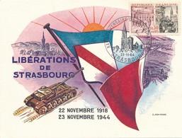 FRANCE-  N°YT 1410 SUR CARTE LIBERATIONS DE STRASBOURG OBLITERATION 20E ANNIVERSAIRE 23.11.1964 - Guerre Mondiale (Seconde)