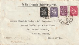 Portugal OHMS On His Britannic Majesty's Service Great Britain British Consulate Madeira South Africa 1943 Ships - Briefe U. Dokumente