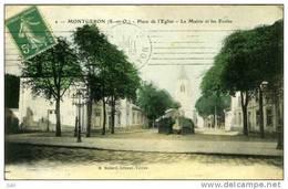 91 - MONTGERON - Place De L'Eglise - La Mairie Et Les Ecoles - Montgeron