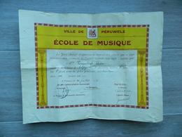 Diplôme De Solfège - Ville De PERUWELZ - Ecole De Musique Juillet 1939 - Impr. G. COLLIN - Jury - 1er Prix - 38 X 29,5 - Diploma's En Schoolrapporten