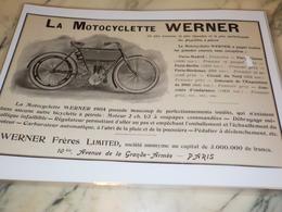 ANCIENNE PUBLICITE MOTOCYCLETTE WERNER  1904 - Motor Bikes