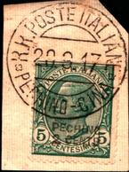 93542) ITALIA-2 C. Su 5 C.Emissioni Ordinarie Soprastampate Pechino E In Centesimi Cinesi - 1917 USATO SU FRAMMENTO - 11. Foreign Offices