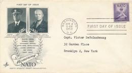 ETATS-UNIS: FDC ADMIRAL MC CORMICK ET GNL EISENHOWER OBLITERATION WASHINGTON DC 04.04.1952 - Timbres