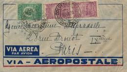 J71 - Marcophilie - Lettre De Brésil Vers Paris - Par Avion - Cachet De Transit Gare Du Nord Avion En Bleu - 1930 - Brasilien
