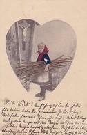 AK Mädchen Mit Holz Reisig Vor Einem Wegkreuz - 1901 (48217) - Portraits
