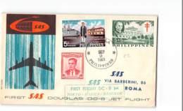 5954 FIRST SAS DOUGLAS DC-8 JET FLIGHT TOKYO MANILA BANGKOK CALCUTTA KARACHI ROMA - PHILIPPINES STAMPS - Philippines