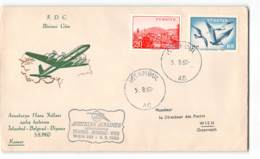 5959 FDC AUSTRIAN AIRLINES ISTANBUL BEOGRAD WIEN 1960 - FDC
