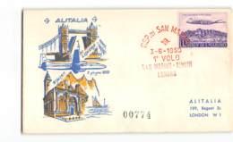 5967 REPUBBLICA SAN MARINO ALITALIA 1° VOLO RIMINI LONDON 1950 - Saint-Marin